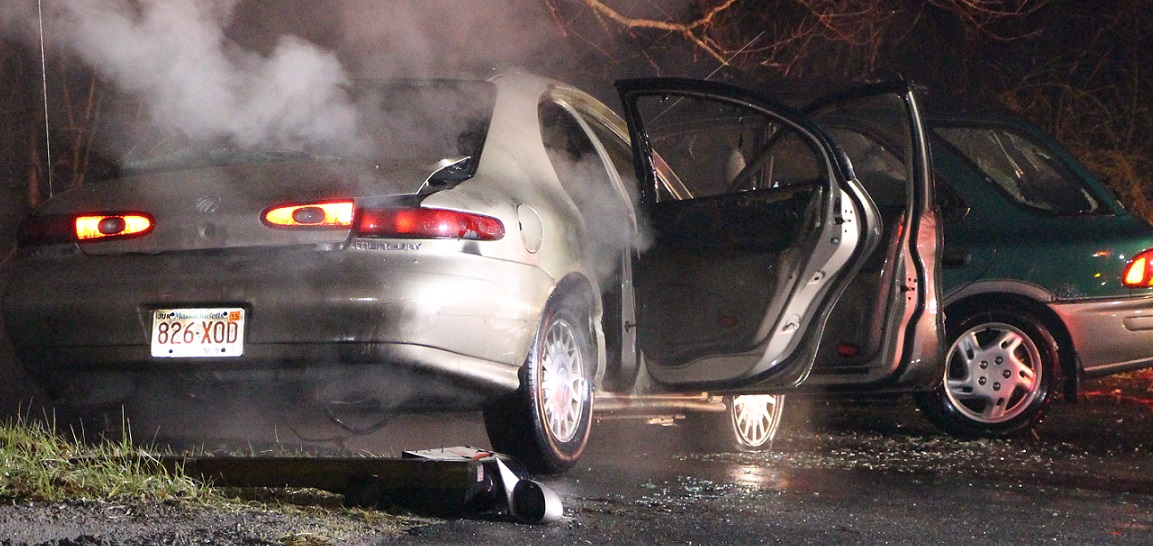 Drunk driver's car bursts into flames after ramming parked car… [VIDEO]