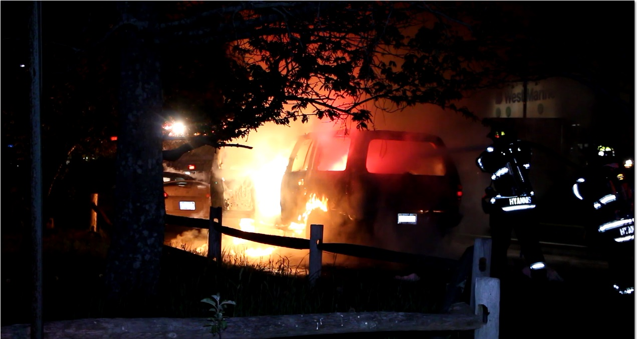 FLASH:  Two suspicious fires suddenly break out in Hyannis neighborhood… State Fire Marshal on scene… [Video of blaze...]