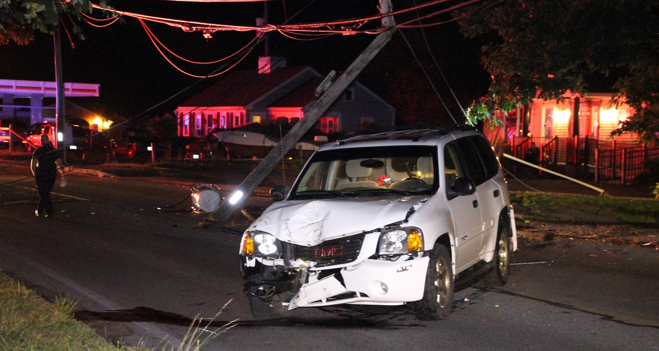 WEST MAIN STREET:  SUV takes down pole, transformer, live wires… expect morning delays…