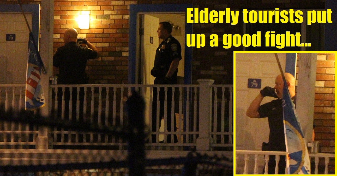 ROBBERY: Armed hotel room invasion… 78-year-old puts up good fight… knife wielding intruder fled with pocketbook…