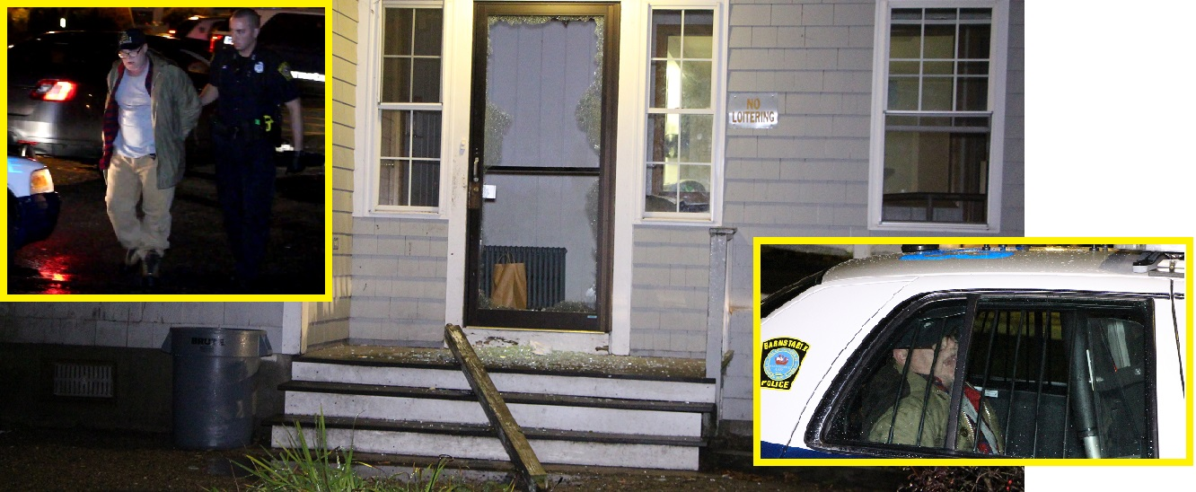 Man goes berserks.. smashes front door… waves knife around… takes ride in a police car…