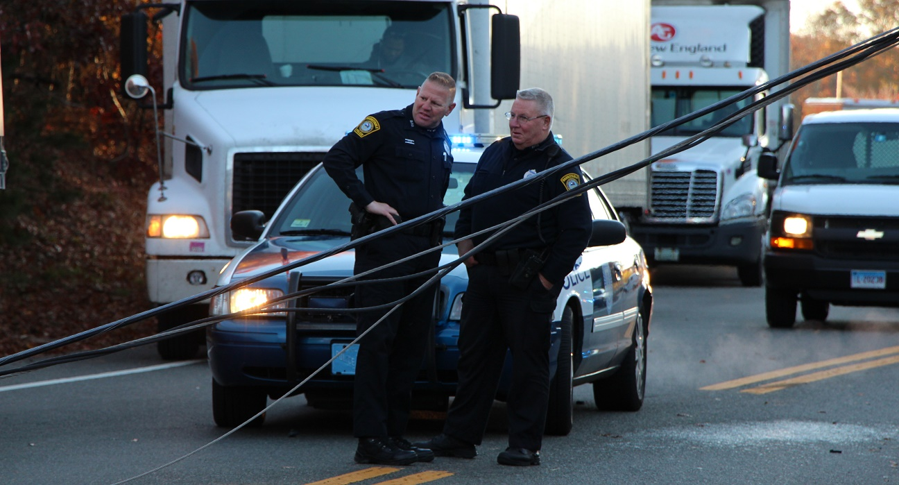 Accident shut down Route 28 during morning rush… live wires across road… [VIDEO]