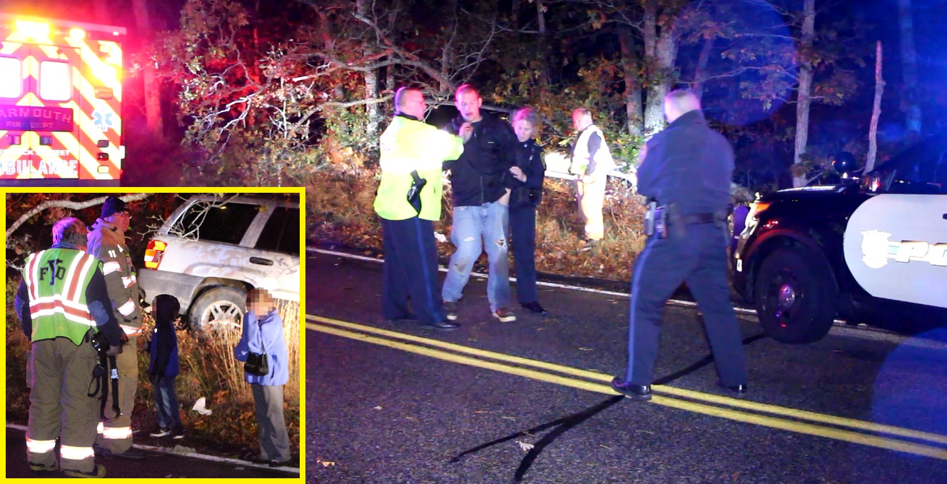 UPDATED: Father arrested for OUI after crashing into trees with young children on board… female passenger taken to CCH… [ARREST VIDEO]
