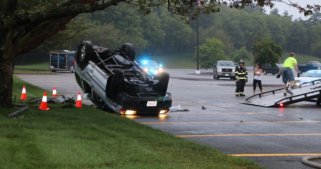 WEATHER RELATED:  Wet roads and bald tires caused SUV to rollover into the Patriot Square parking lot…