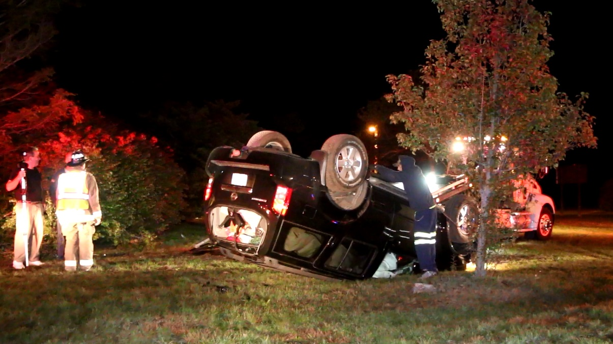 VIDEO:  Rollover at Bourne Rotary…