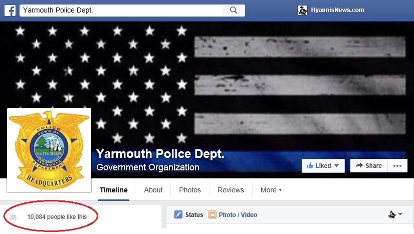 Yarmouth Police Department reaches over 10,000 Likes on Facebook…