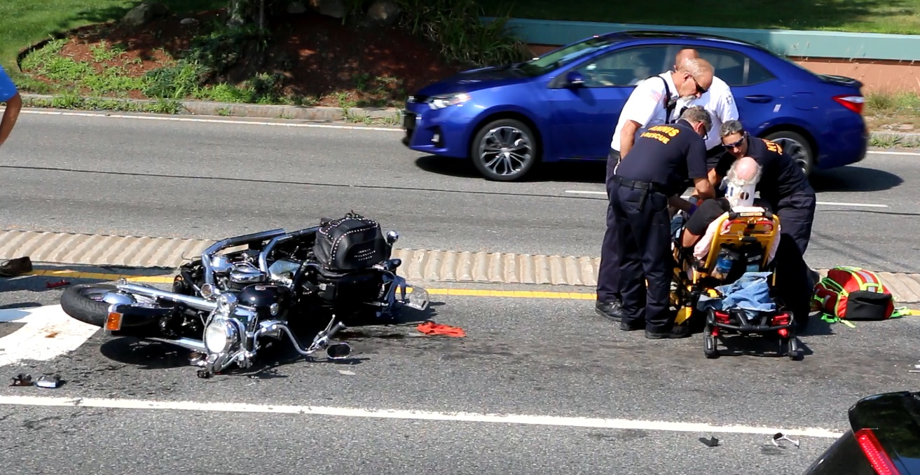 VIDEO: Biker banged up after collision on Route 132…