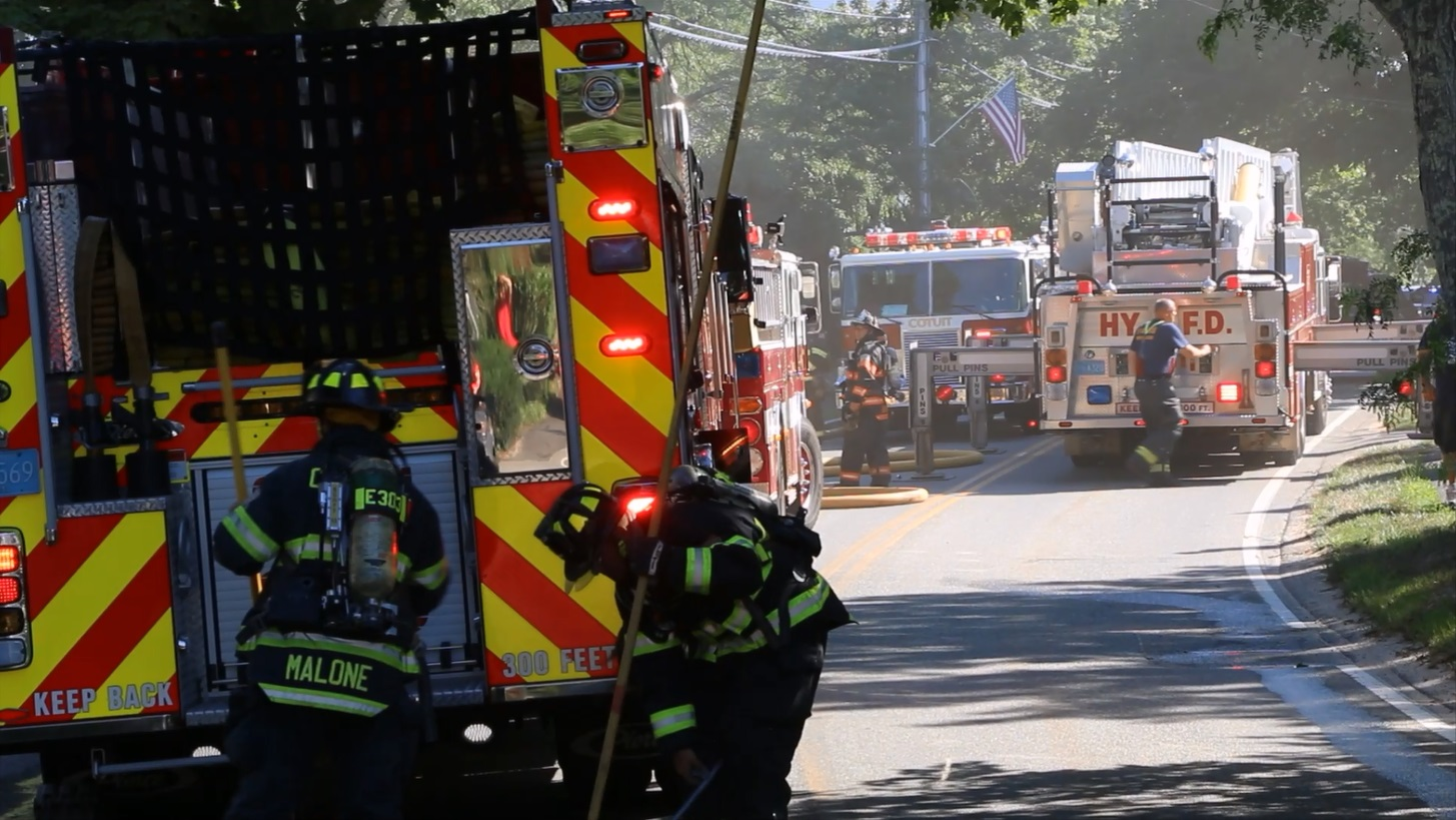 MAIN STREET CLOSED: Cotuit house fire… waterfront home… went to two alarms…  [Video]