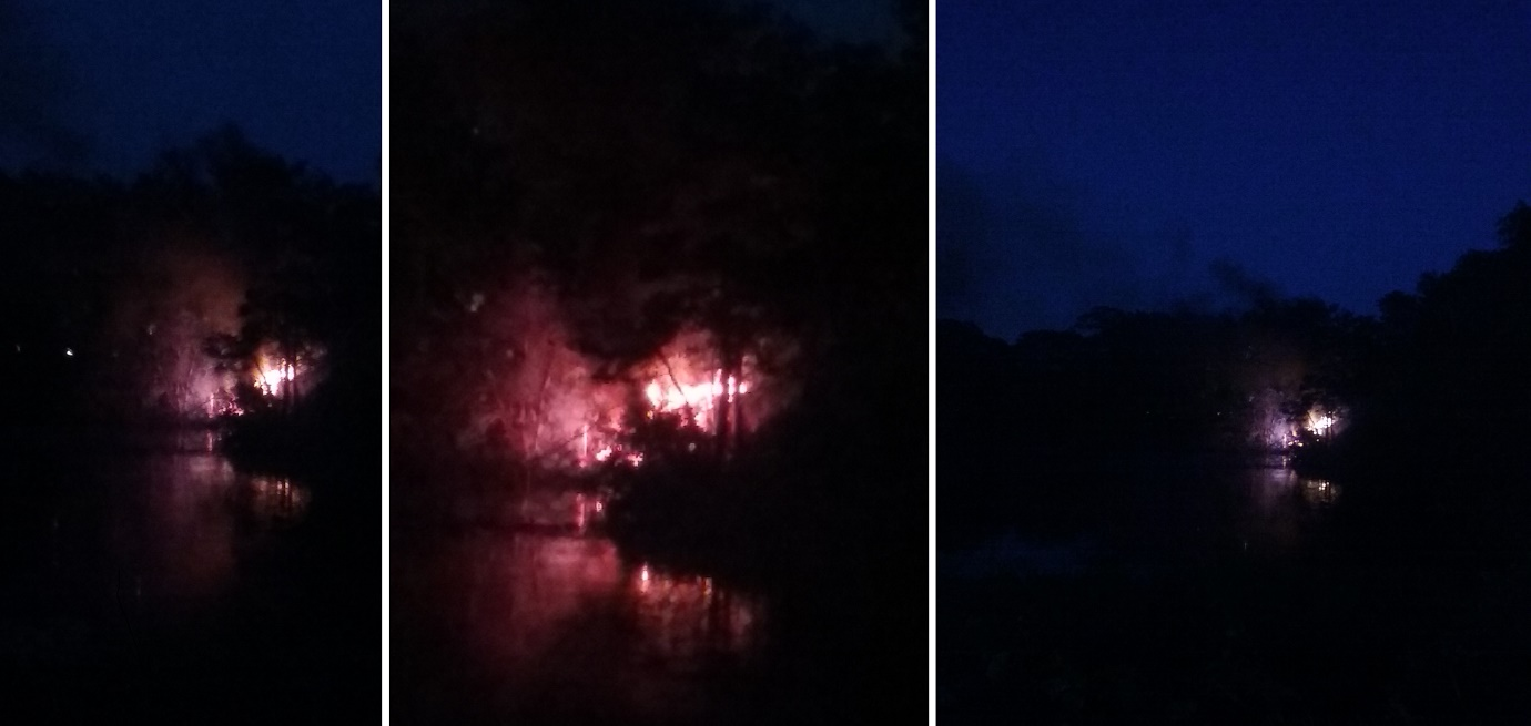 SMOKE ON THE WATER: Homeless camp up in flames… second night in a row… [VIDEO]