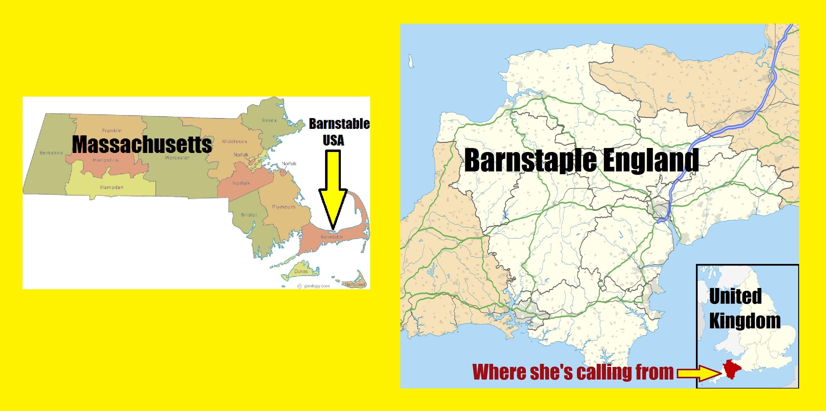 AUDIO: Woman calls Barnstable Police in Massachusetts to report car accident in Barnstaple England…