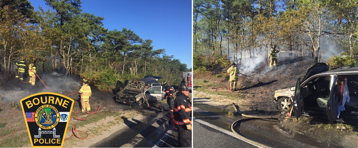 Car fire near Sagamore Bridge… set woods on fire… [Brief HN Reader Vid]