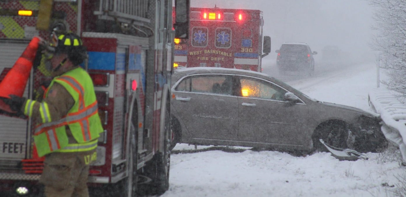 "WBFD PHOTOS: Firefighters advise motorists to ""drive slow…"""