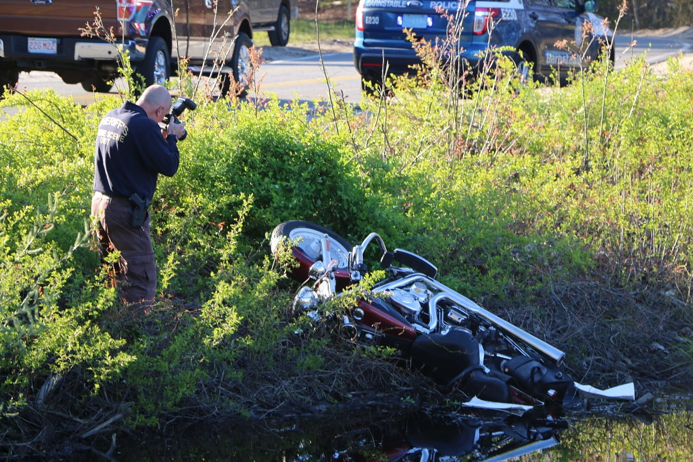 VIDEO: Motorcycle flew into ditch… driver transported to CCH…