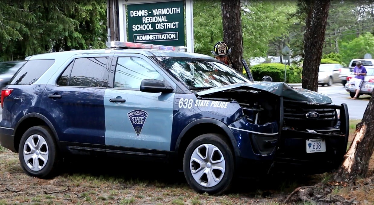 State police cruiser left roadway and struck tree, apparently responding to rollover accident on Route 6… [HN VIDEO]