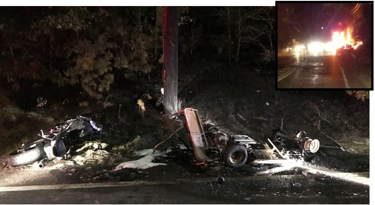 "FIERY COTUIT CRASH: Motorcycle collides with ""makeshift go-kart…"" 2 critical… total of 3 transported…"