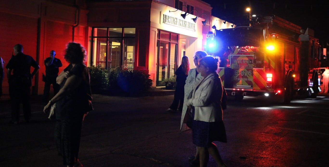 HN PHOTOS:  Hyannis hotel evacuated after someone maliciously activates dry chemical fire extinguisher…
