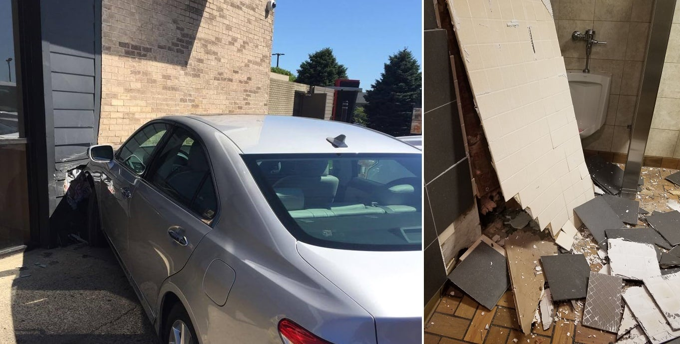 Elderly driver takes out BK lounge…