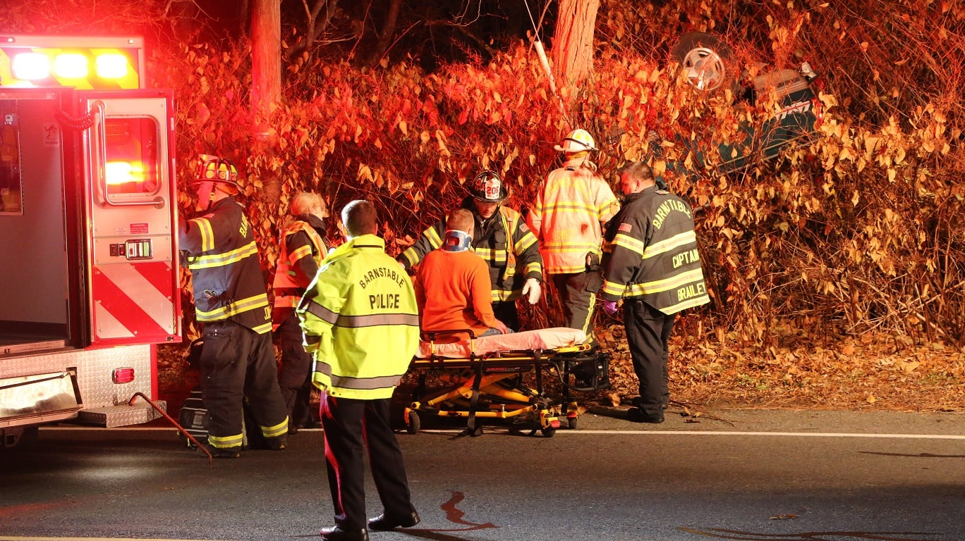 SECOND BARNSTABLE ROLLOVER: Entrapped pickup driver lucky to be alive… would have gone unnoticed in woods if not for passerby… [HN VIDEO]